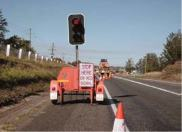 temporary traffic lights at road works