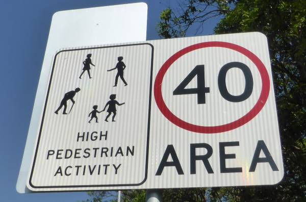 40 limit pedestrian area sign