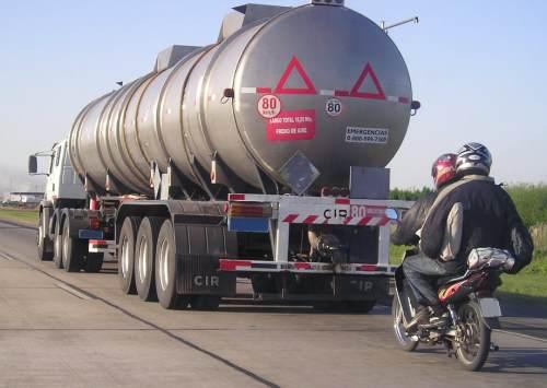 motorbike tailgating truck