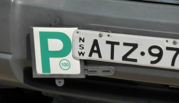 Australian P2 licence plate on a car in NSW