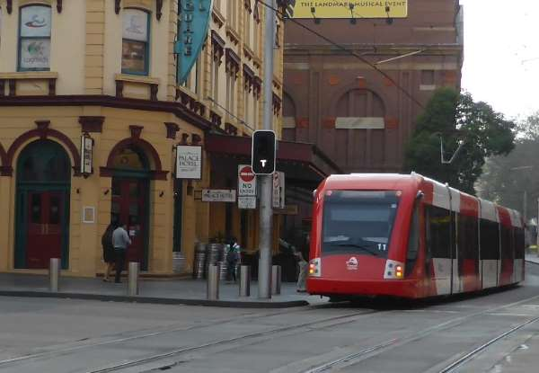 tram from rear with tram sign