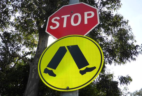 stop pedestrians sign