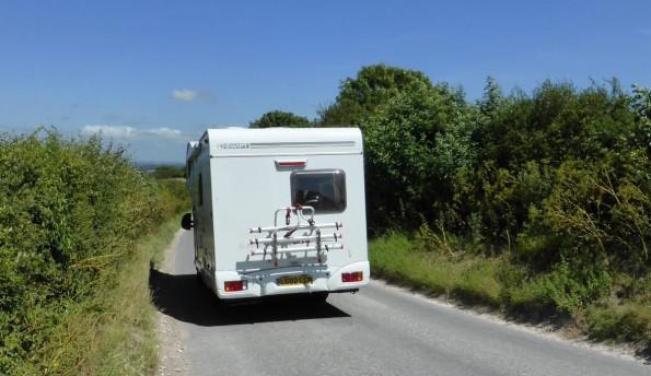campervan on rural road