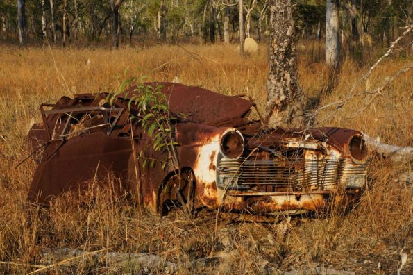 The occasional wrecked car is easy to spot in certain areas of rural Australia, like this one we found on the way to Chillagoe, QL