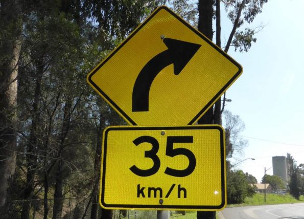 Advisory speed limits like this 35kph right-hand bend should be approached with caution and driven under the suggested limit