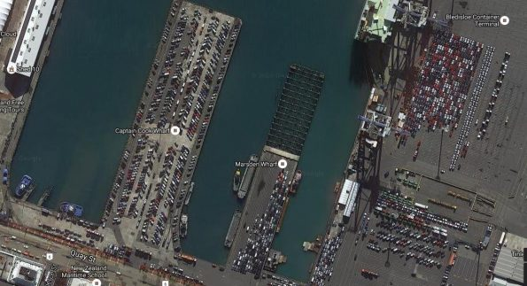 This Google Maps image shows all the wharves with significant numbers of vehicles; Bledisloe Wharf is on the right. Each wharf is over 200m long
